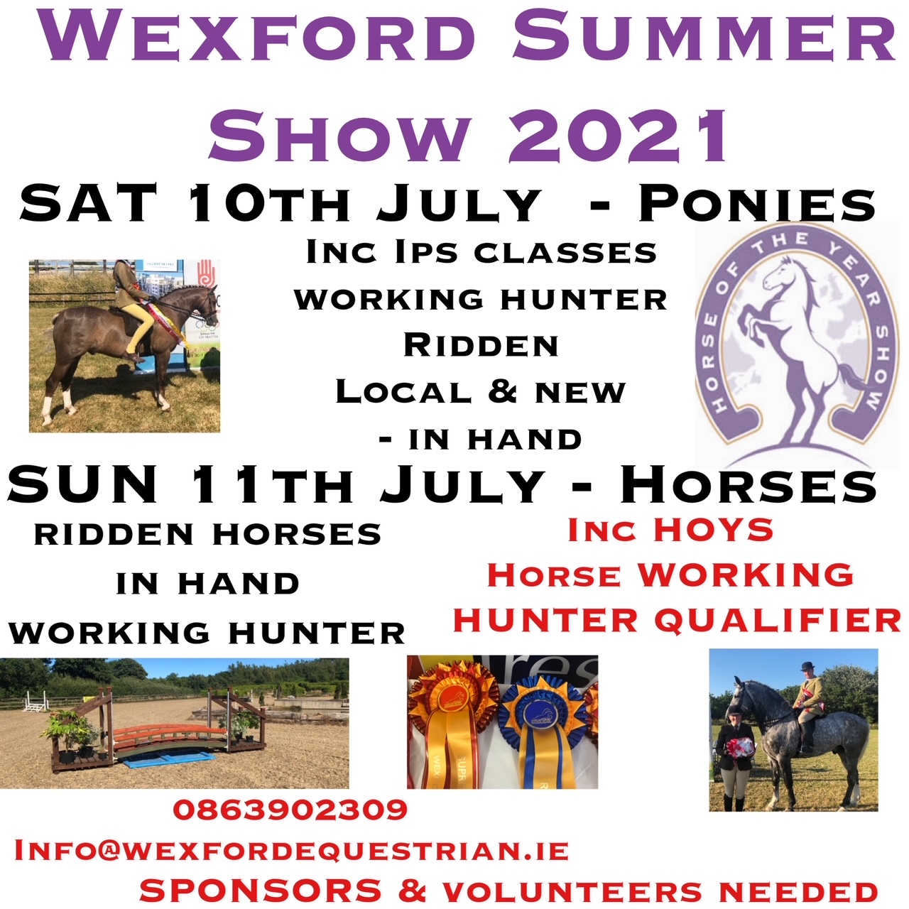 WEXFORD EC SUMMER HORSE SHOW WITH HOYS WORKING HUNTER QUALIFIERS SUN 11TH JULY