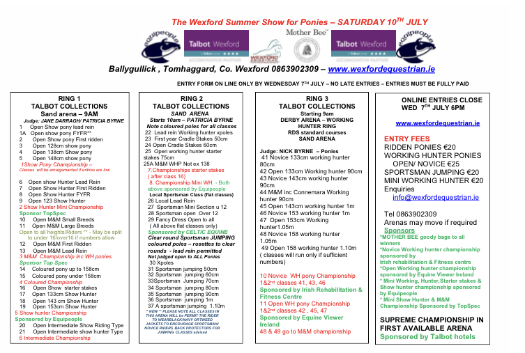 WEXFORD PONY SUMMER SHOW – 10TH JULY