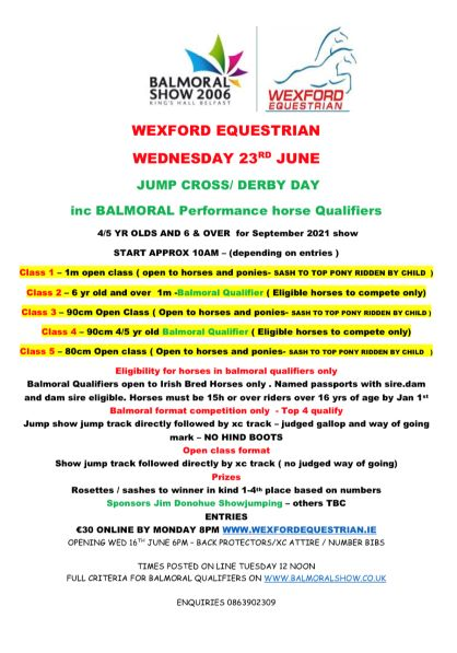 WEXFORD EC JUMP CROSS/DERBY inc BALMORAL PERFORMANCE HORSE QUALIFIERS